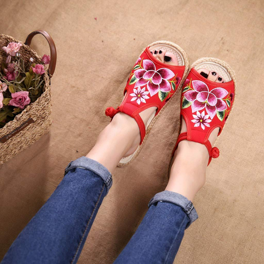 Lurryly Sandals for Women,Embroidered Slippers Fish Mouth National Old Beijing Cloth Shoes