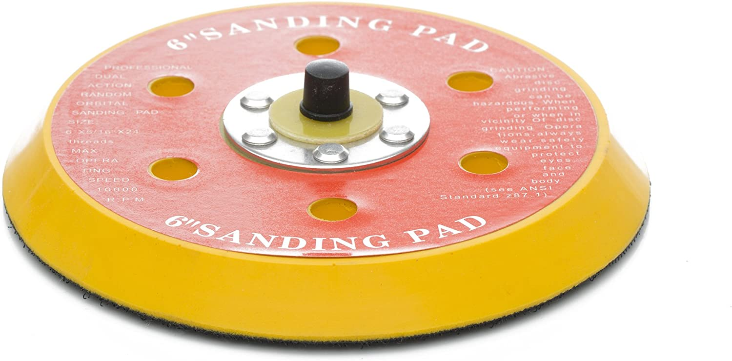 Glass Polish GP12700 DA Dual Action Hook and Loop Backing pad with 5//16-24 Thread//Diameter 5 inch 6 Holes