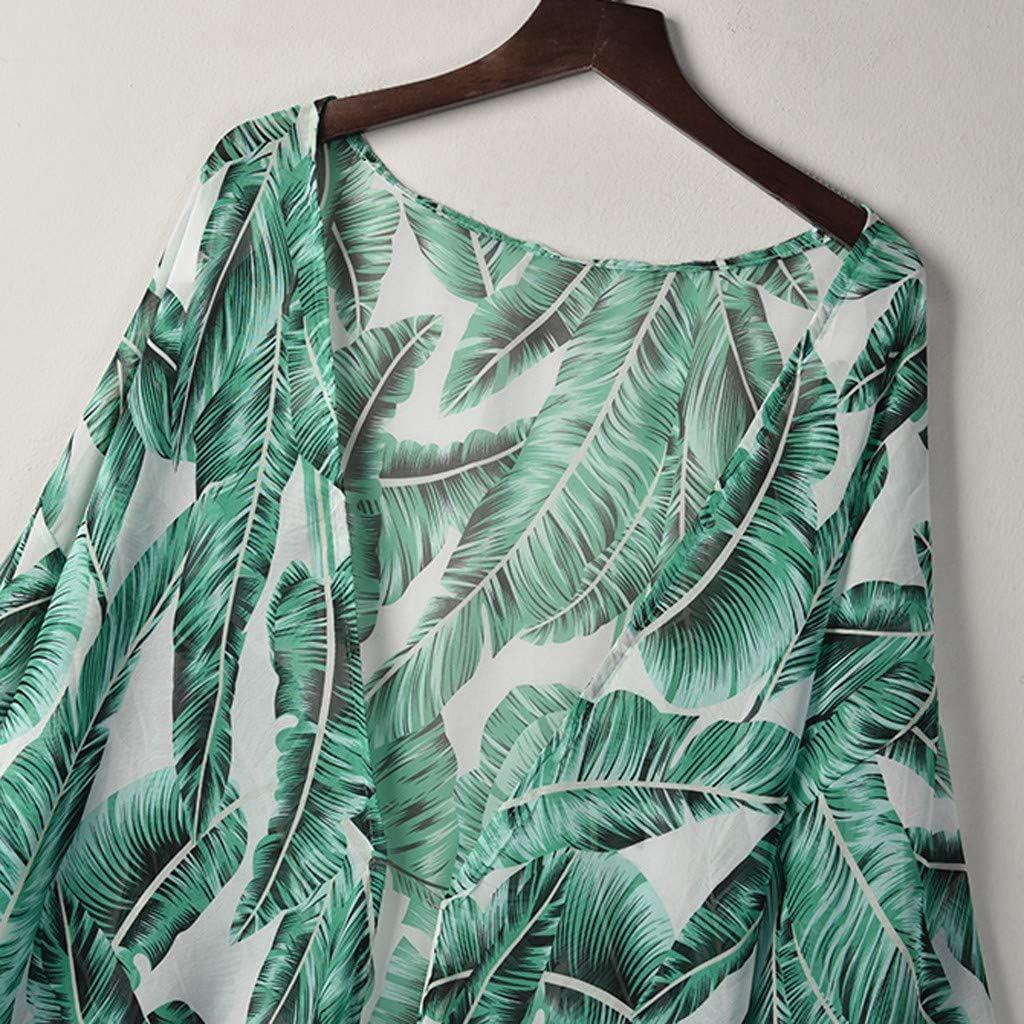 Wyxhkj Mujer Bikini Traje De Ba/ño Playa Cardigan Verano Cubierta Blusa Tops Camiseta Traje De Ba/ño Smock Estampado De Hojas Verano