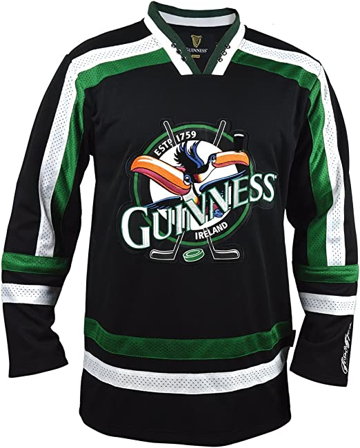Guinness Toucan Black, Green and White Hockey Jersey