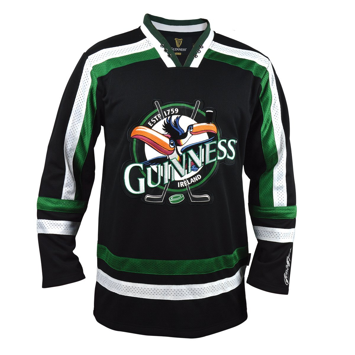 Guinness Toucan Black, Green White Hockey Jersey