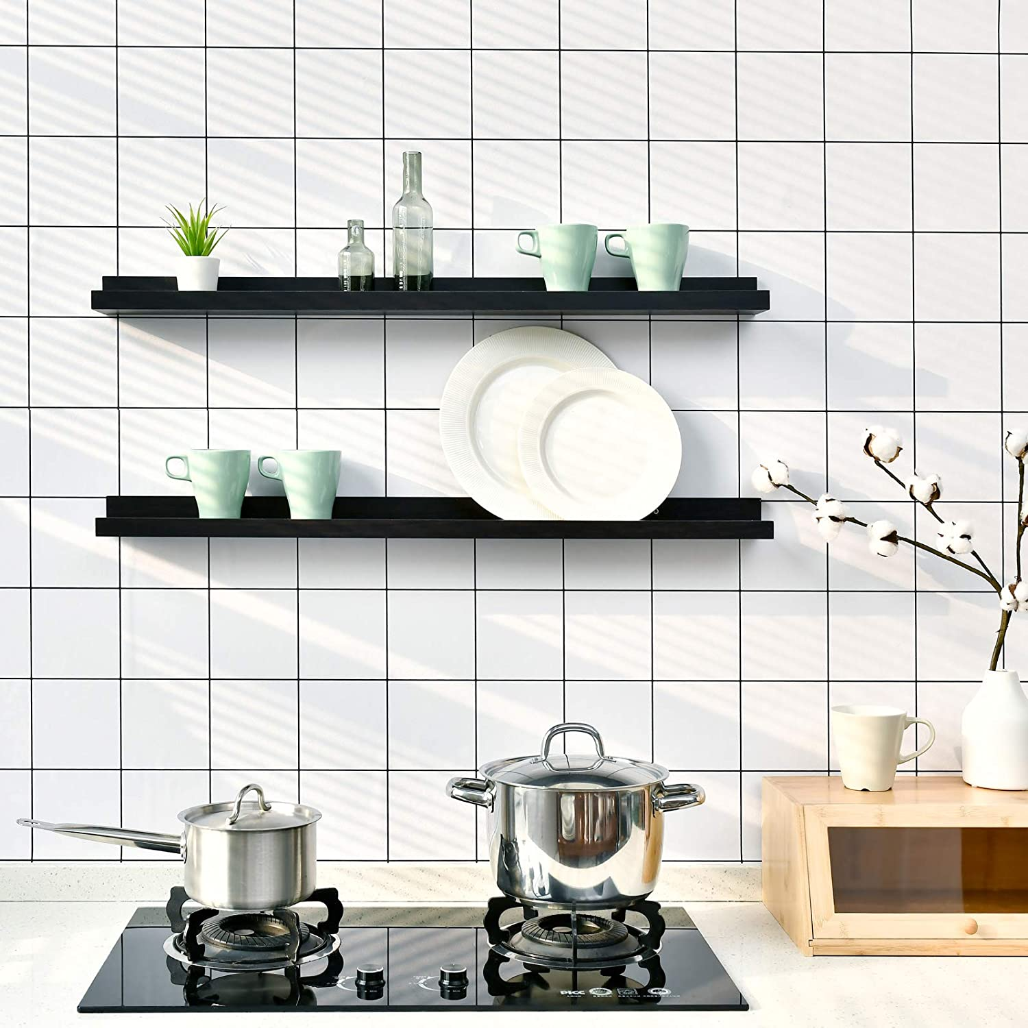 Bathroom WELLAND Espresso Picture Ledge Shelf Display Wall Shelf 36 for Bedroom Living Room Office and More Kitchen