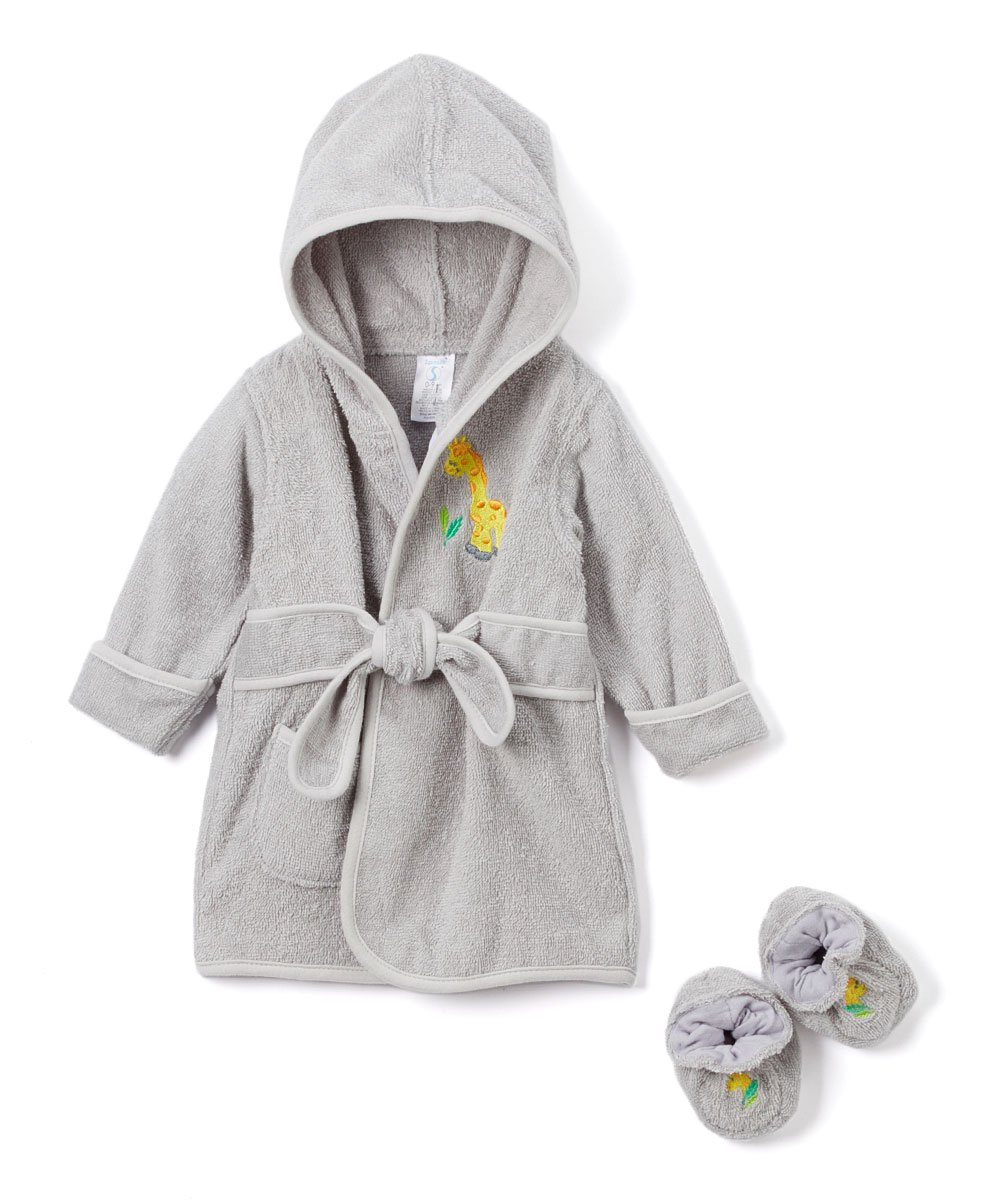 Spasilk 100% Cotton Hooded Terry Bathrobe with Booties—Baby Girl Gifts—Baby Boy Gifts—0-9 Months—Shower Gift: Baby