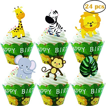 Amazon 24pcs Jungle Animals Happy Birthday Cupcake Toppers Wrappers For Woodland Garland Forest Theme Party Supplies Kitchen Dining