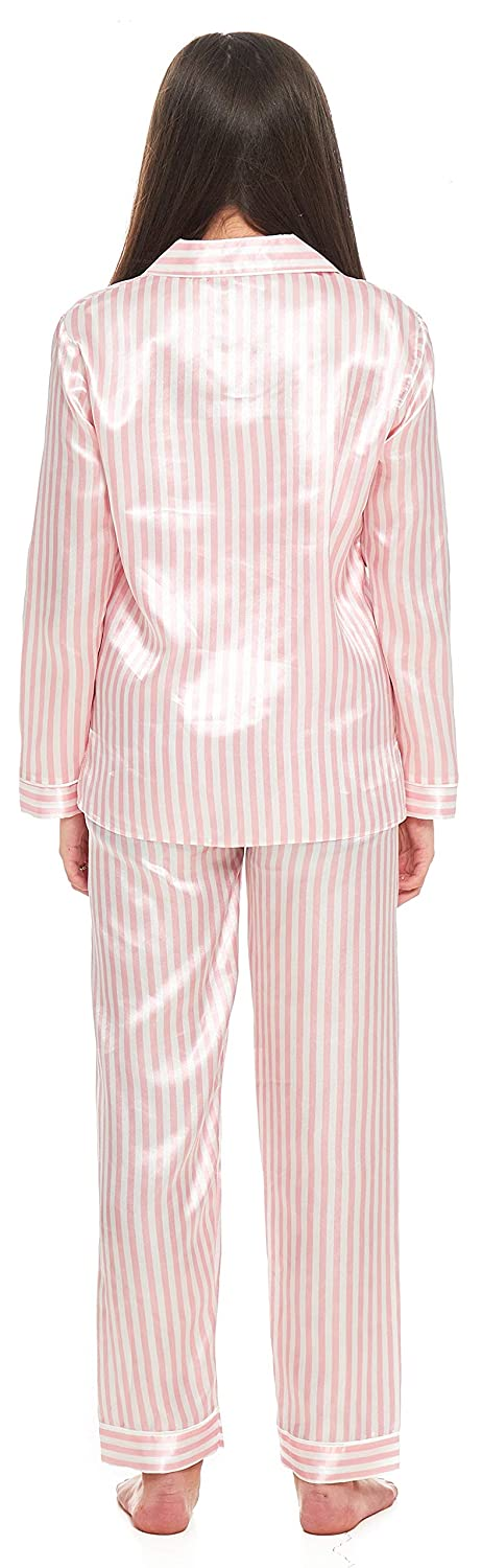 Size 7 up to 13 Years Slumber Hut/® Girls Satin Pyjamas Candy Pink White Stripe Silk Feel Childrens Buttoned Pajamas with Collar