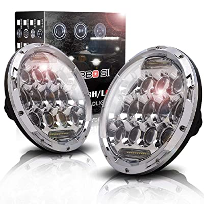 "TURBOSII Dot Approved Chrome For Jeep Wrangler Headlights 7"" Inch Led Round Headlight 75W High/Low Beam DRL For 1997-2020 Jeep Wrangler TJ LJ JK JKU Unlimited Rubicon Sahara Altitude,1 Year Warranty: Automotive"