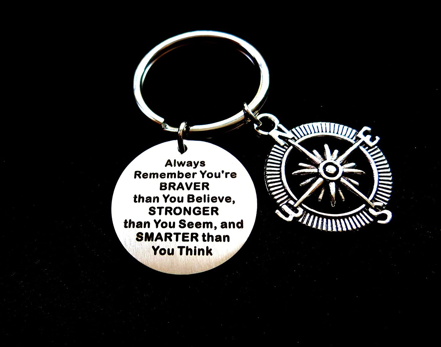 Graduation Gift With Compass Charm Always Remember You Are Braver Than You Believe Inspirational Keychain Gift, Encouragement Keyring Gift