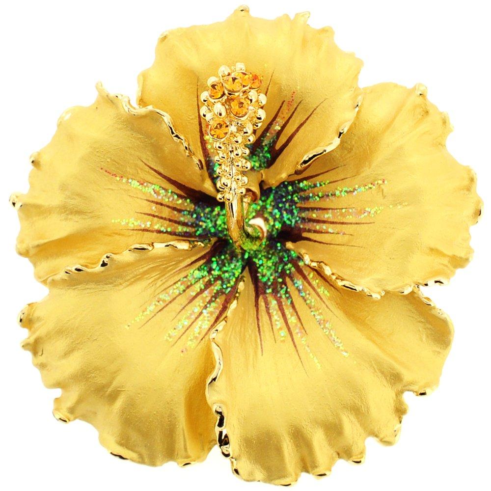 Fantasyard Topaz Hawaiian Hibiscus Swarovski Crystal Flower Brooch and Pendant