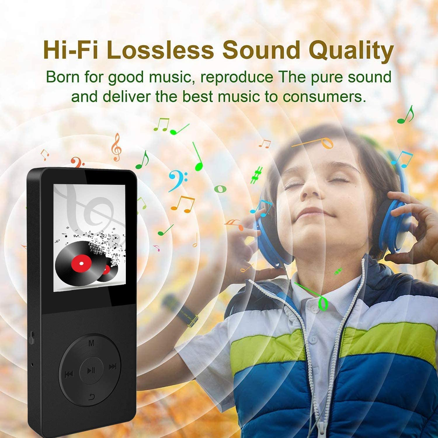 with FM Radio Hotechs Hi-Fi Sound Recording Function Build-in Speaker Expandable Up to 64GB with Noise Isolation Wired Earbuds Mp3 Player