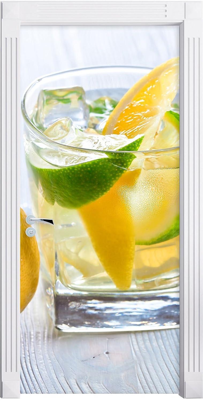 Gin tonic con colpo di limone come Murale, Formato: 200x90cm, telaio della porta, adesivi porta, porta decorazione, autoadesivi del portello Stil.Zeit Möbel