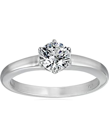 ffb06c2510d1ff Platinum or Gold Plated Sterling Silver Round cut Solitaire ring made with  Swarovski Zirconia