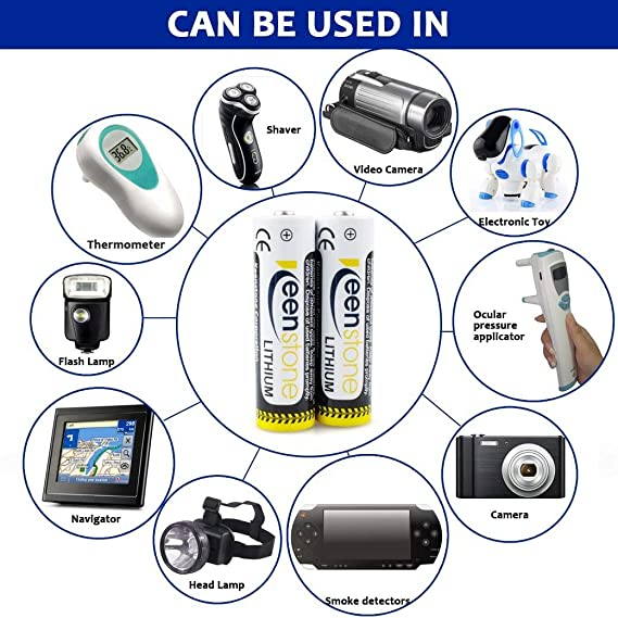 Keenstone - Pilas de litio AAA desechables de 1,5 V 1200 mAh para el hogar, baterías primarias de baja descarga para mando a distancia de juguete, ...