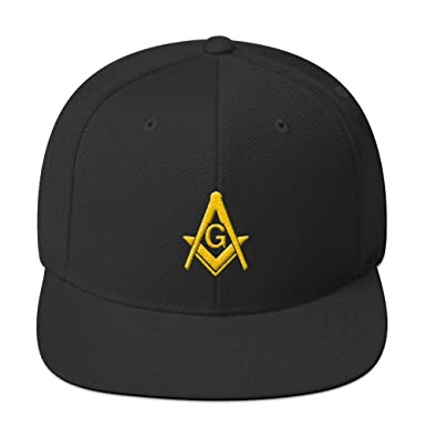Masonic Gears Masonic Snapback Hat 3D Puff Embroidery Gold Thread at ... d8096ab2a874