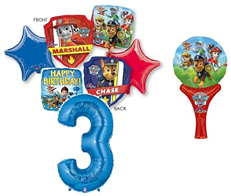 Amazon Paw Patrol 3rd BIRTHDAY PARTY 7 PIECE BALLOONS BOUQUET