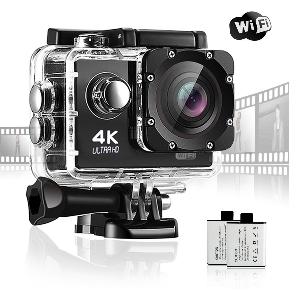 Action Camera JuguHoovi JH80S 4K Camera 16MP Waterproof Camera 170 Wide Angle Sport Underwater Camera Super Tiny Lightweight GoPro Style Digital Camera With 2x1350 mAh Batteries