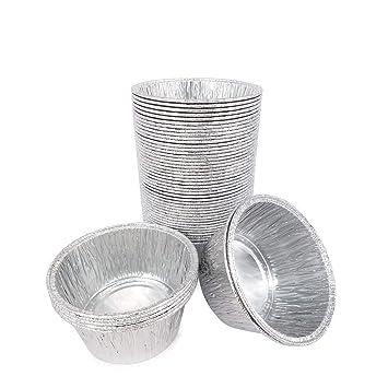 50pcs desechables bandejas de aluminio recipientes de aluminio redondo Pastel taza 80 x 80 x 35