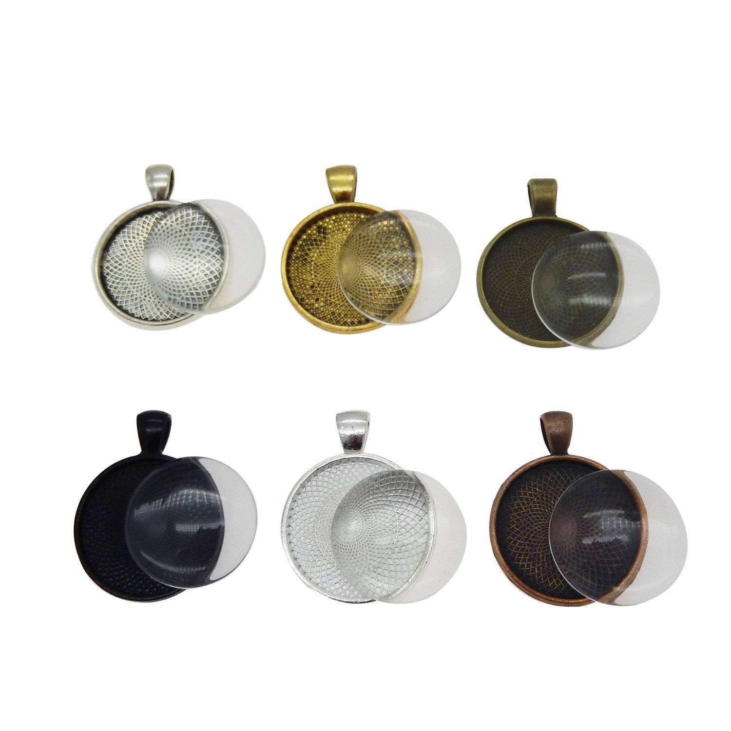 GraceAngie 30 pieces Pendant Trays Round Bezel with Glass Cabochon Round Clear Dome 25 mm//1 inch Diameter 6 Colors