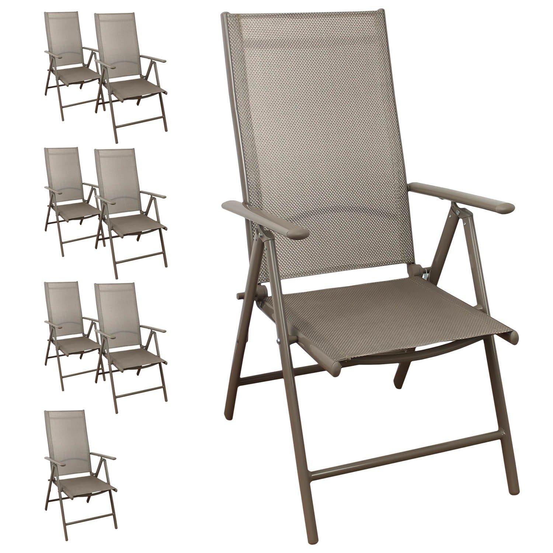 8 Stück Aluminium Hochlehner, Textilenbespannung, 7-fach verstellbar, klappbar, Champagner Gartenstuhl Positionsstuhl Klappstuhl