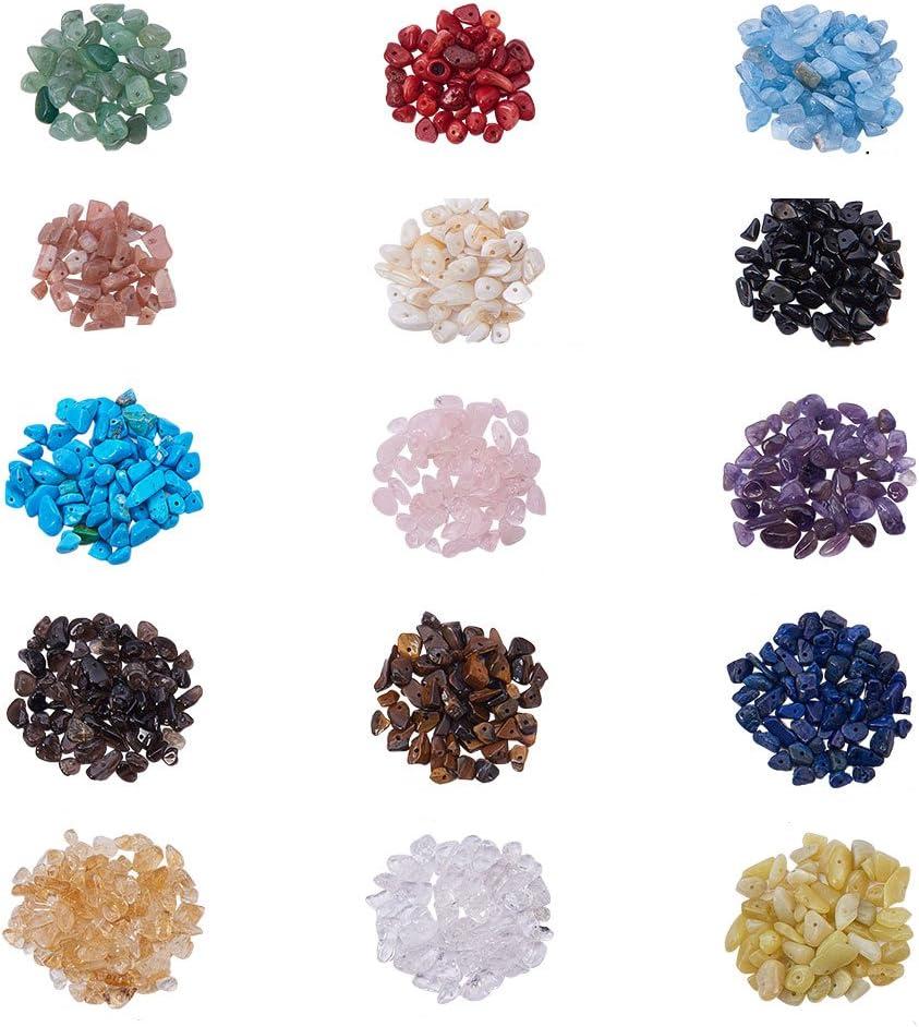 Pandahall Elite - 1Caja de 50 g–Abalorios de cristal de cuarzo de amatista y aguamarina, mezcla de colores, cuentas sin agujero 7,5~ 13x 5~ 7x 3~ 4mm, Mixed Color-9, 3~8mm x 5~13mm