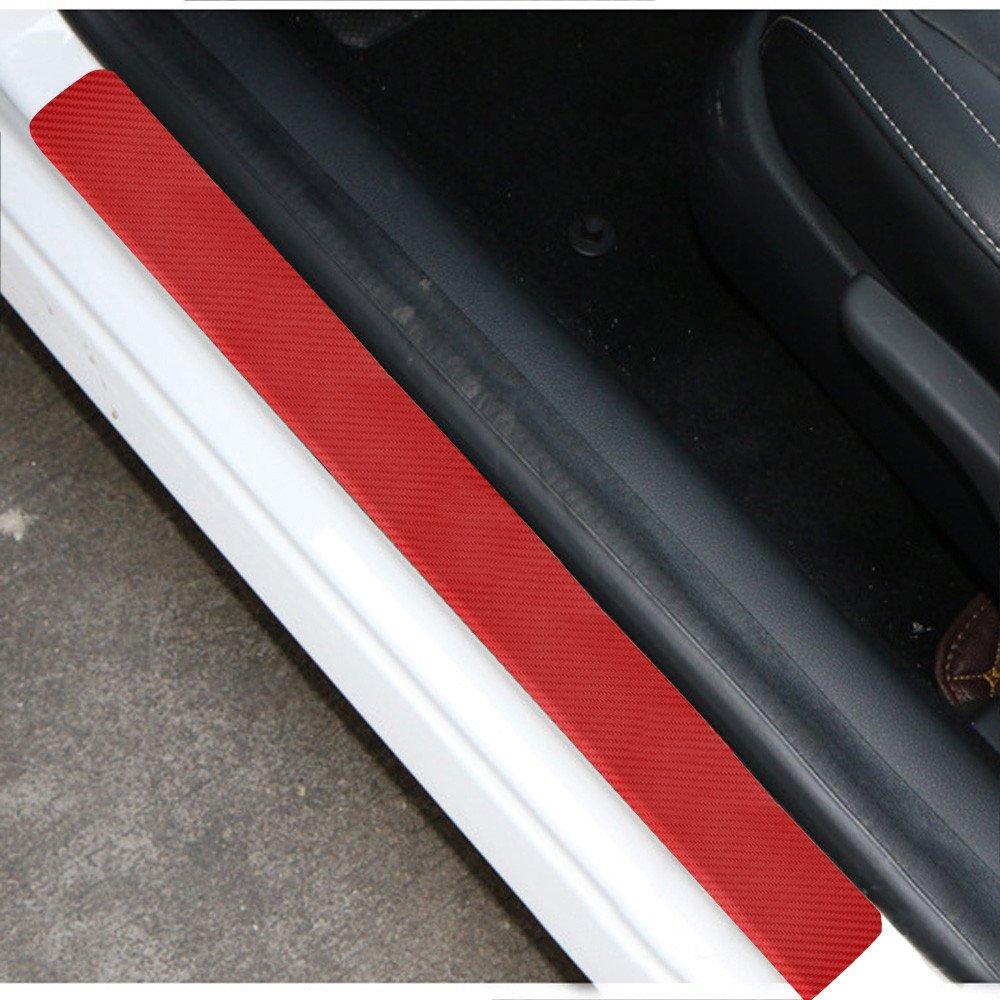 Pwtchenty 4Pcs 3D Fibre Carbone Regard Plaque Porte Voiture Sill Autocollant Couverture Anti-Rayures Seuils Portes Voitures Protections Autocollantes Film pour Protection Seuil Universel Rouge