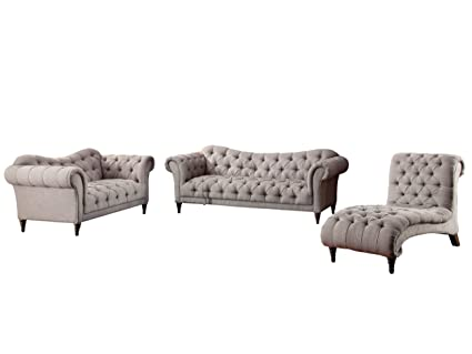 Tremendous Amazon Com Stella French Button Tufted 3Pc Set Sofa Love Evergreenethics Interior Chair Design Evergreenethicsorg