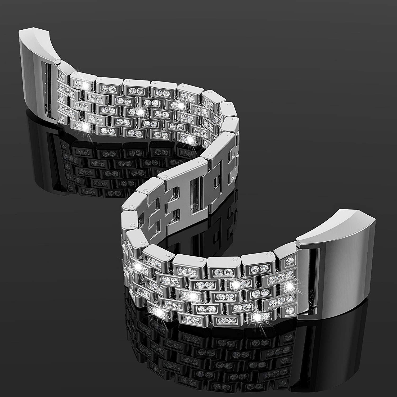 Rotgold Feitb Klassiker Luxus Kristall Edelstahl Metall Strasssteinen Armband Stilvolles filigranes Strap Band f/ür Fitbit Ladung 2 f/ür 5,5-8,1-Zoll-Handgelenk