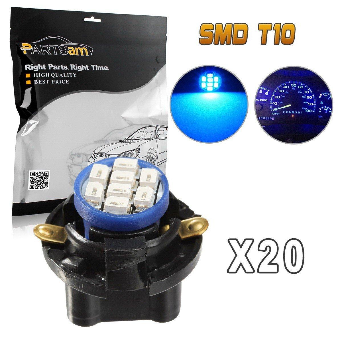 Partsam 20pcs Blue T10 194 LED Light Bulb with Sockets Instrument Panel Speedometer Odometer Lighting Indicators Lamp by Partsam