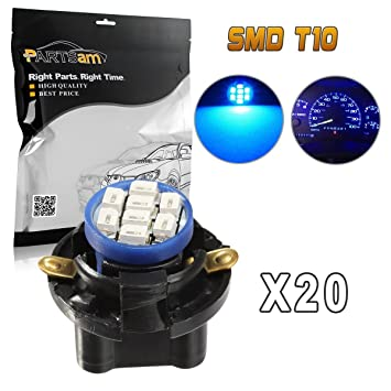 partsam 20pcs azul T10 194 LED Luz Bombilla 8-epistar-smd con sockets Panel
