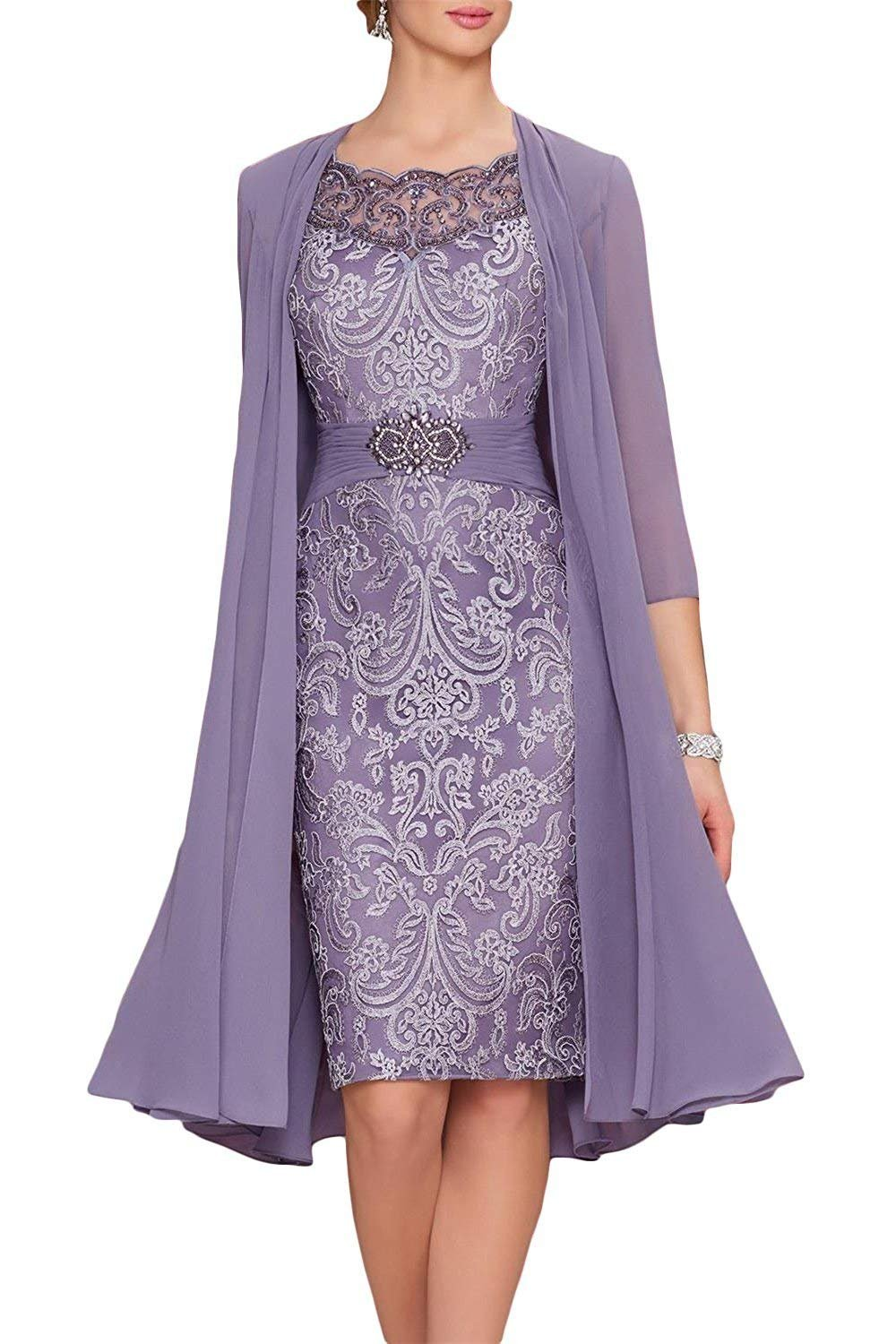ec666d4025b4 Newdeve Chiffon Mother of The Bride Dresses Tea Length Two Pieces with  Jacket Purple