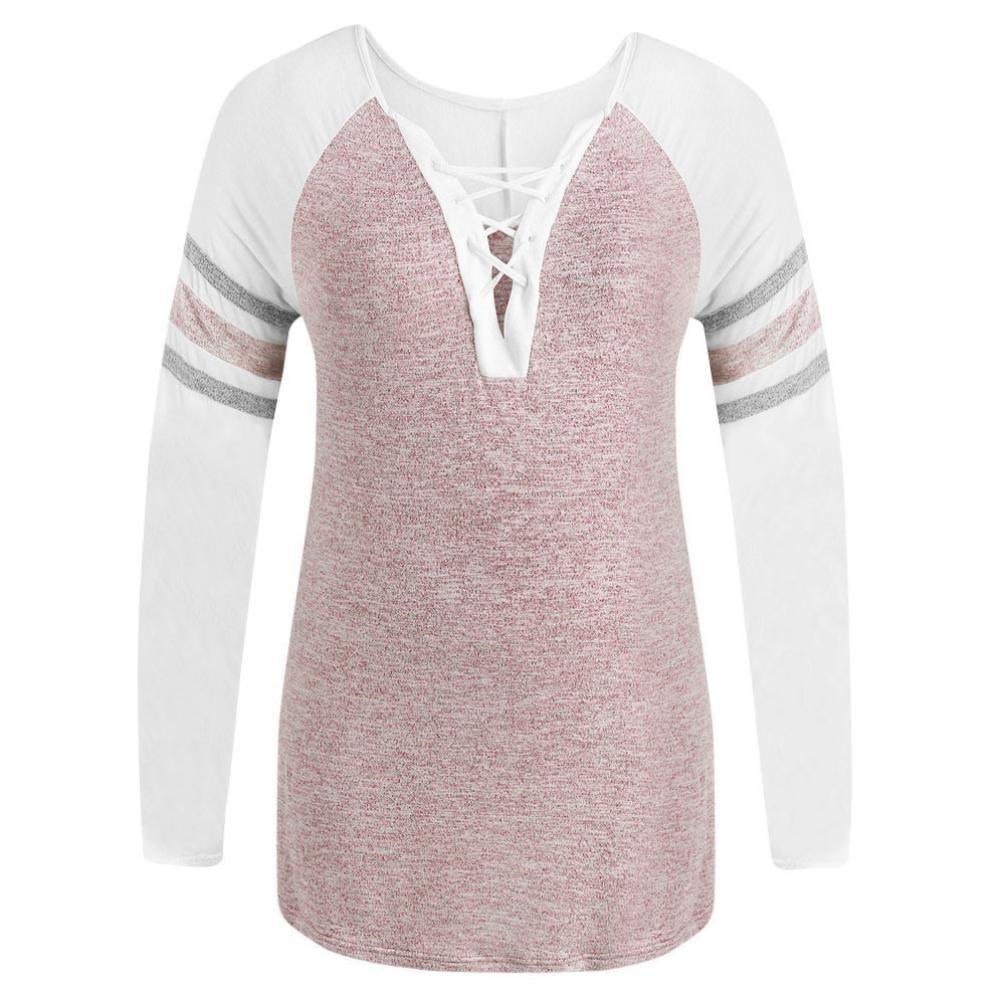 Orangeskycn Women Comfy Tops Casual Bandage Neck Plus Size Patchwork T-shirt