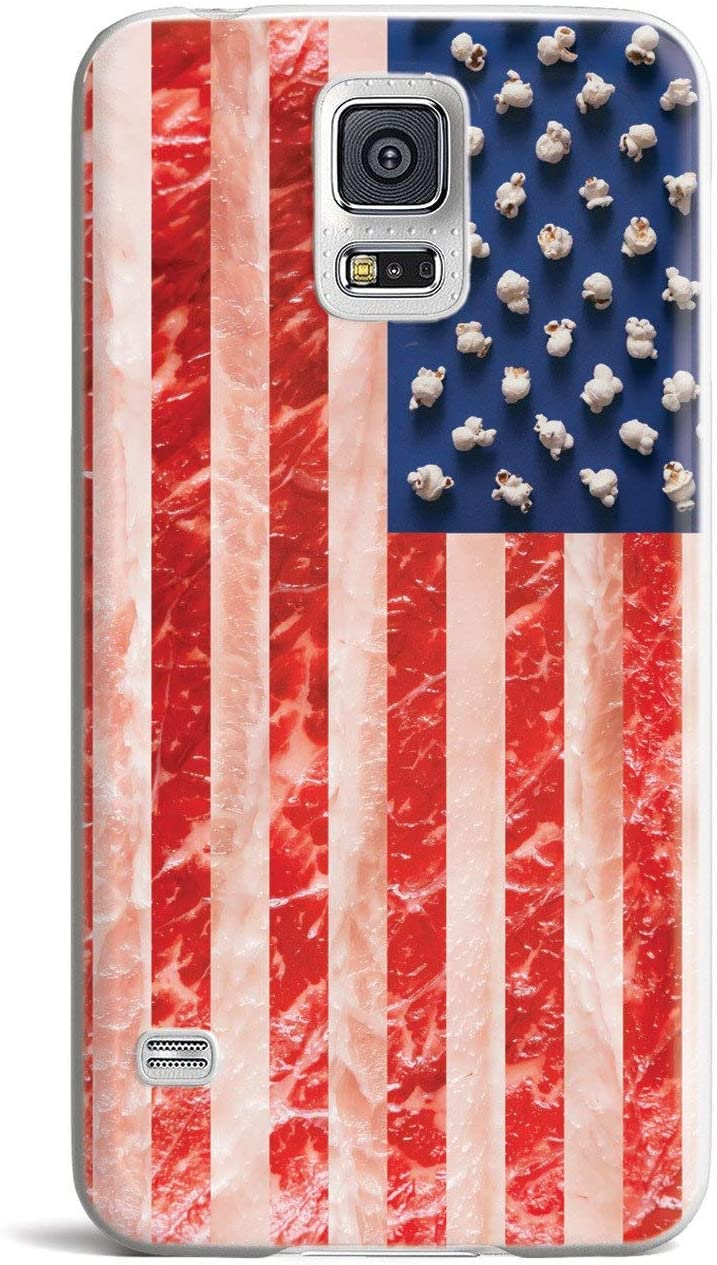 Inspired Cases - 3D Textured Galaxy S5 Case - Rubber Bumper Cover - Protective Phone Case for Samsung Galaxy S5 - American Food Flag - White