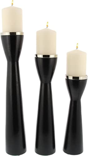 Deco 79 51284 Mango Wood and Metal Pillar Candle Holder