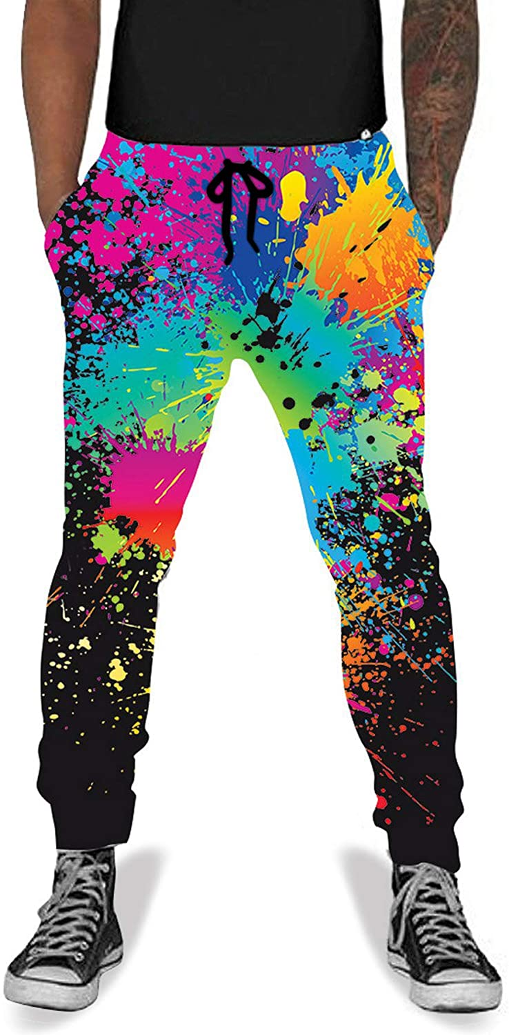 80s Men's Clothing | Shirts, Jeans, Jackets for Guys UNIFACO Unisex 3D Digital Print Sports Jogger Pants Casual Graphic Trousers Sweatpants with Drawstring $25.99 AT vintagedancer.com