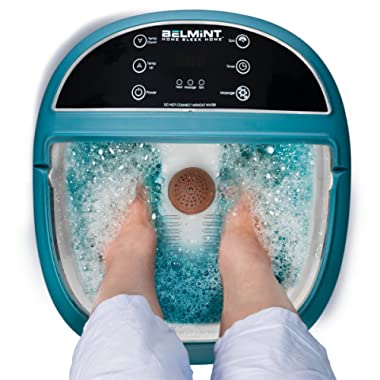 Foot Spa Bath Massager with Heat, Foot Soaking Tub Features Vibration, Bubbles and LCD Screen for Adjusting Massage Modes to Soothe Tired Muscles with 6 Pressure Node Rollers Relieve Fatigue & Tens