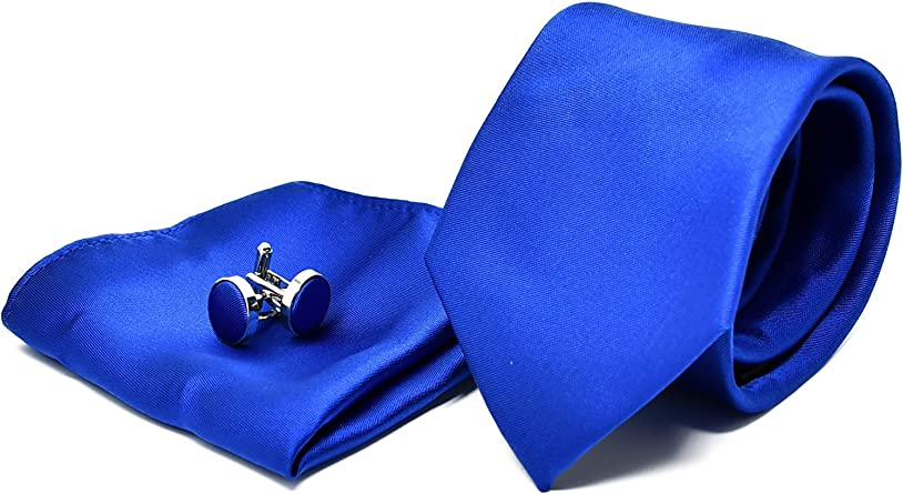 Corbata de hombre, Pañuelo de Bolsillo y Gemelos Azul Satén - 100 ...