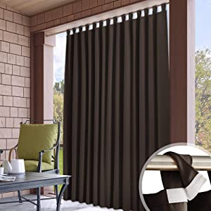 RYB HOME Patio Curtains Outdoor - Detachable Top Waterproof Outdoor Privacy Curtain Thermal Isulated Blackout Drapery for Porch Arbor Canopy Garden Lawn, Wide 100 x Long 84, 1 Pc, Brown