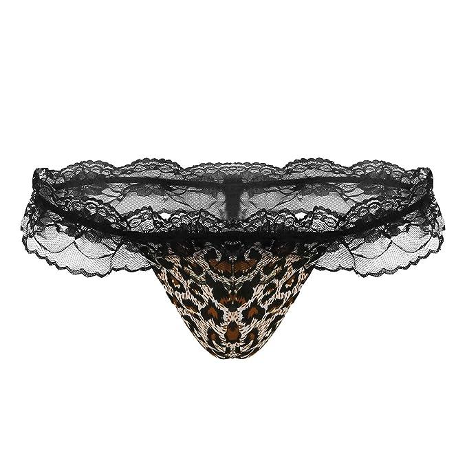 6c1f1acdf00 Alvivi Men s Lace Trim G-String Thong T-Back Lingerie Bulge Pouch Underwear  Brown