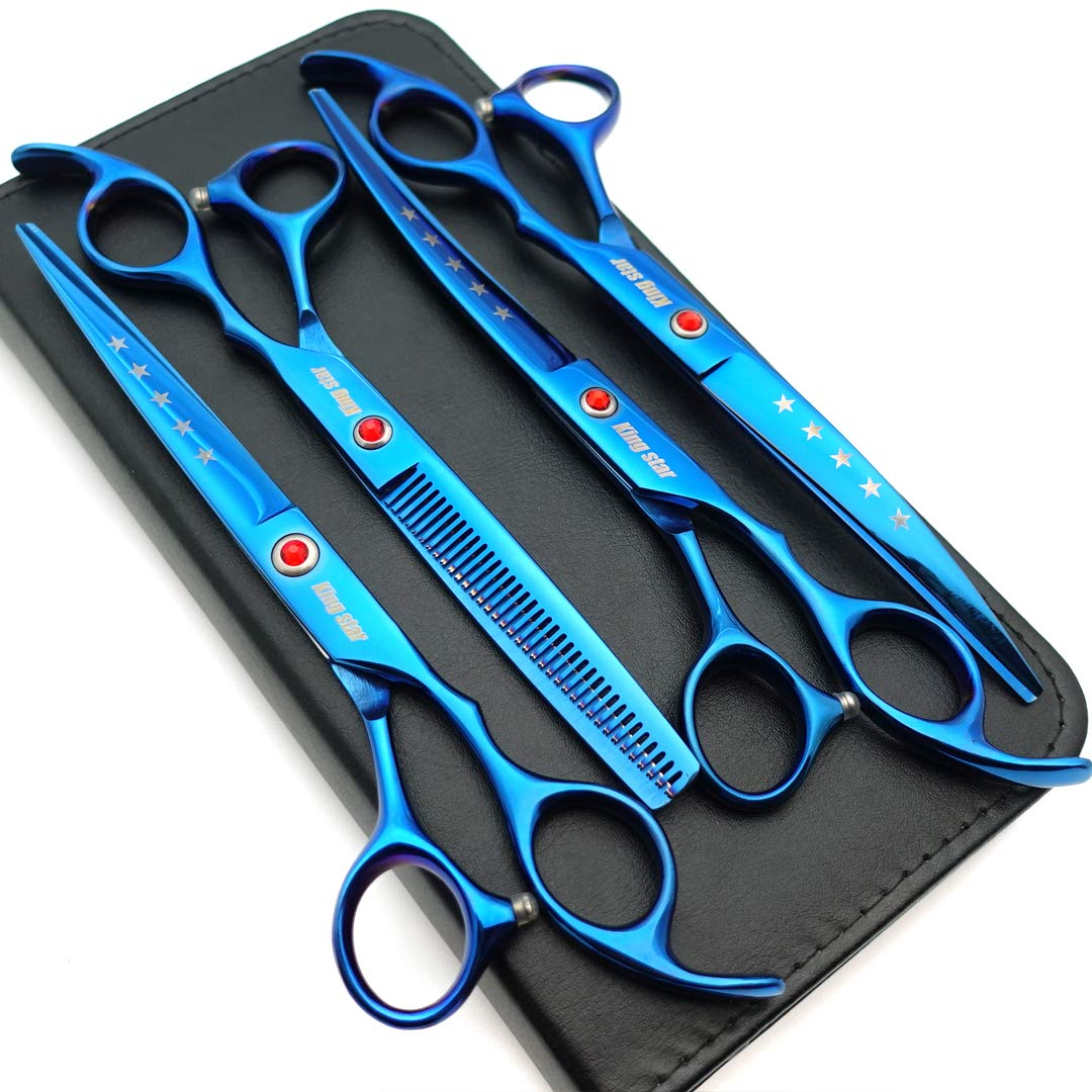 7.0in Titanium Blue Professional Pet Grooming Scissors Set,Straight & Thinning & Curved Scissors 4pcs Set for Dog Grooming,(Blue) by Kingstar
