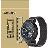 Lamshaw Ticwatch E バンド, ミラネーゼループ マグネット式 ステンレス メッシュ 交換ベルト 対応 Ticwatch E 腕時計 (ブラック)