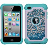iPod 4 Case, iPod Touch 4 Case, MagicSky [Shock Absorption] Studded Rhinestone Bling Hybrid Dual Layer Armor Defender Protective Case Cover For iPod Touch 4th Generation - Flower2