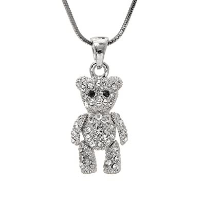 6d9d0ae6f91856 Amazon.com: SpinningDaisy Crystals Silver Plated Movable Teddy Bear Necklace:  Pendant Necklaces: Jewelry