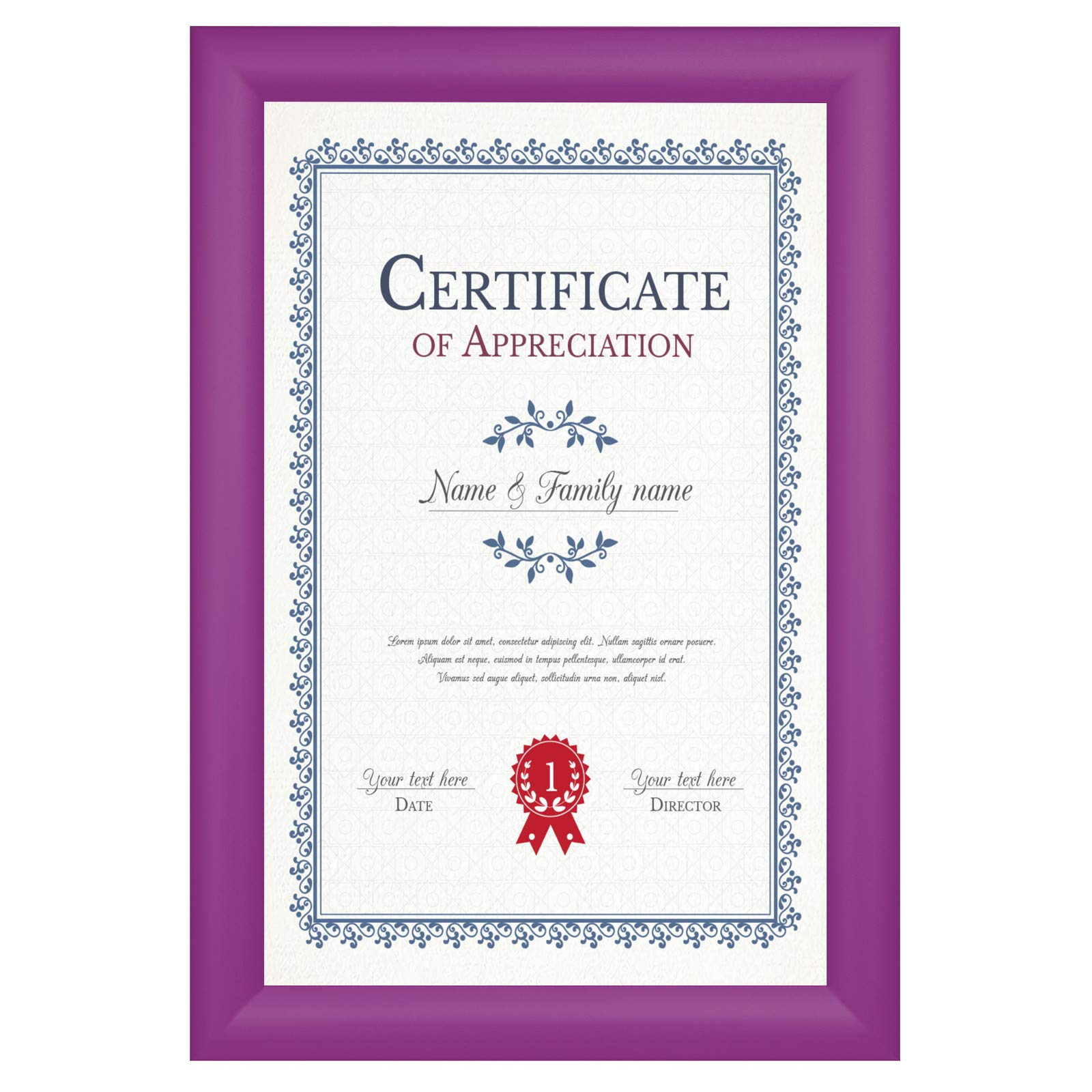 SnapeZo Notice Frame 11x17 Inches, Purple 1.2 Inch Aluminum Profile, Front-Loading Snap Frame, Wall Mounting, Premium Series