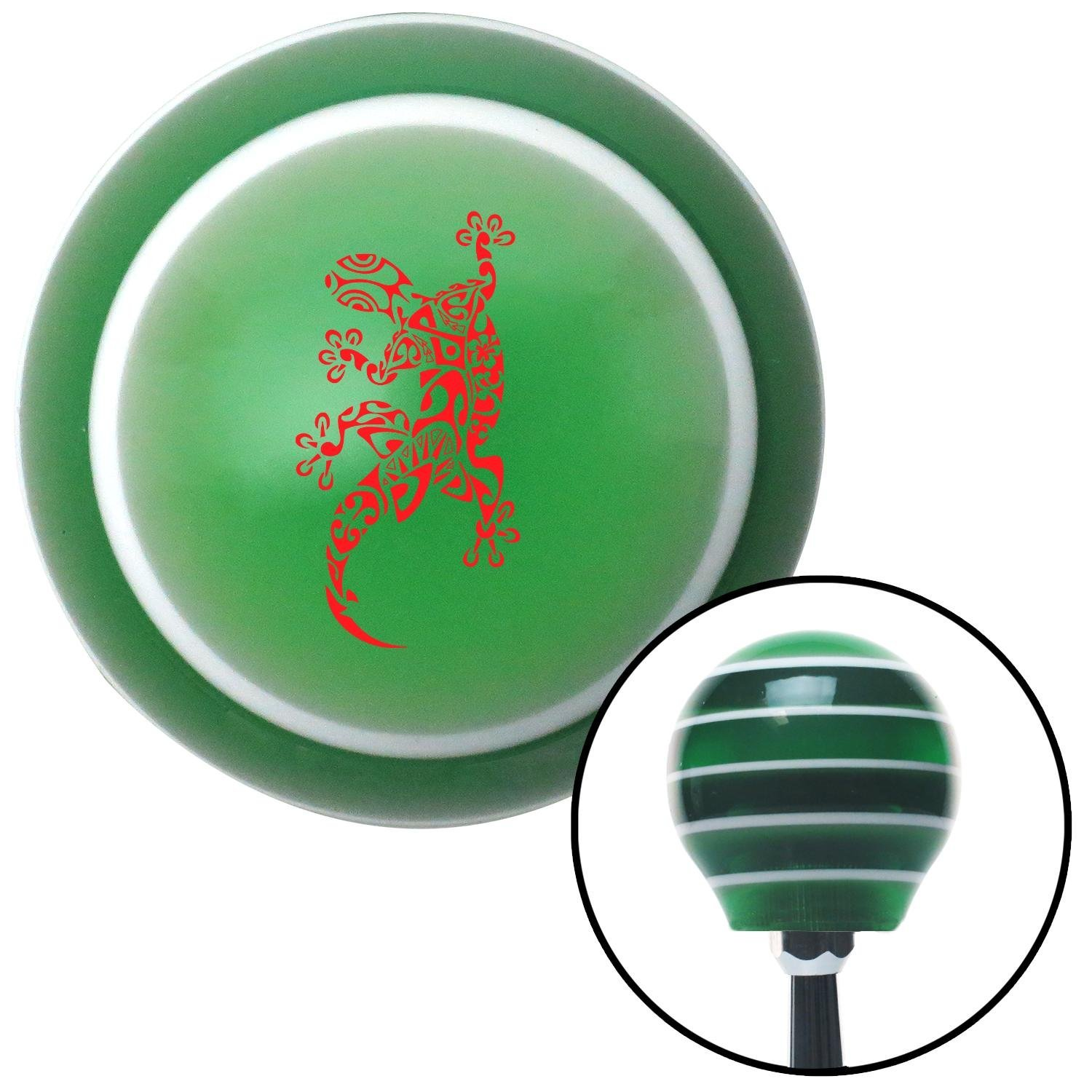 American Shifter 122665 Green Stripe Shift Knob with M16 x 1.5 Insert Red Abstract Gecko