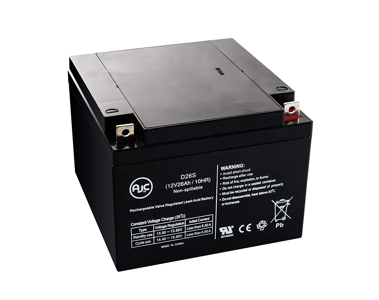 BB BP26-12, BP2612 12V 26Ah UPS Battery - This is an AJC Brand Replacement AJC Battery