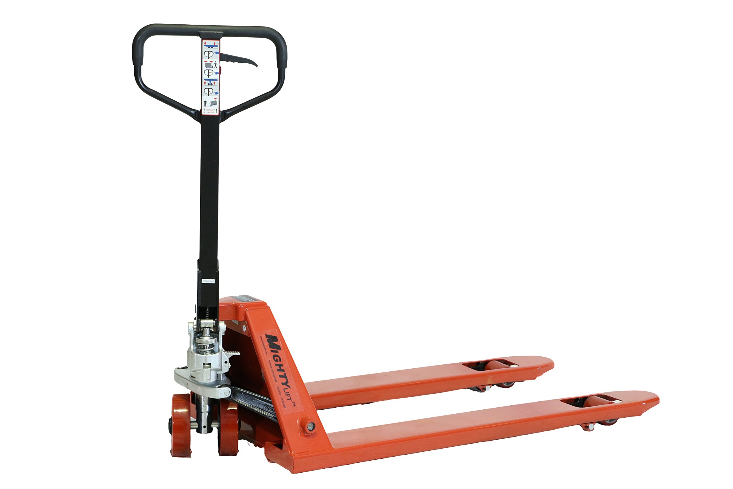 Mighty Lift ML66C Heavy Duty Higher Capacity Pallet Trucks, 27'' x 48'', 6600 Lbs Capacity, 50'' Height, 27'' width, 48'' Length, 6600 Pounds Load Capacity