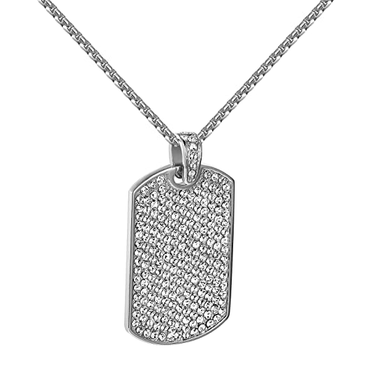 Dog tag pendant lab diamonds iced out cz stainless steel military dog tag pendant lab diamonds iced out cz stainless steel military box free chain mozeypictures Images