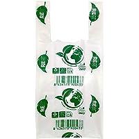 ZCENTER Bolsas de Plástico Tipo Camiseta Resistentes, Reutilizables y 100% Bolsa Reciclabre,70% Recicladas, Tamaño 35x50…