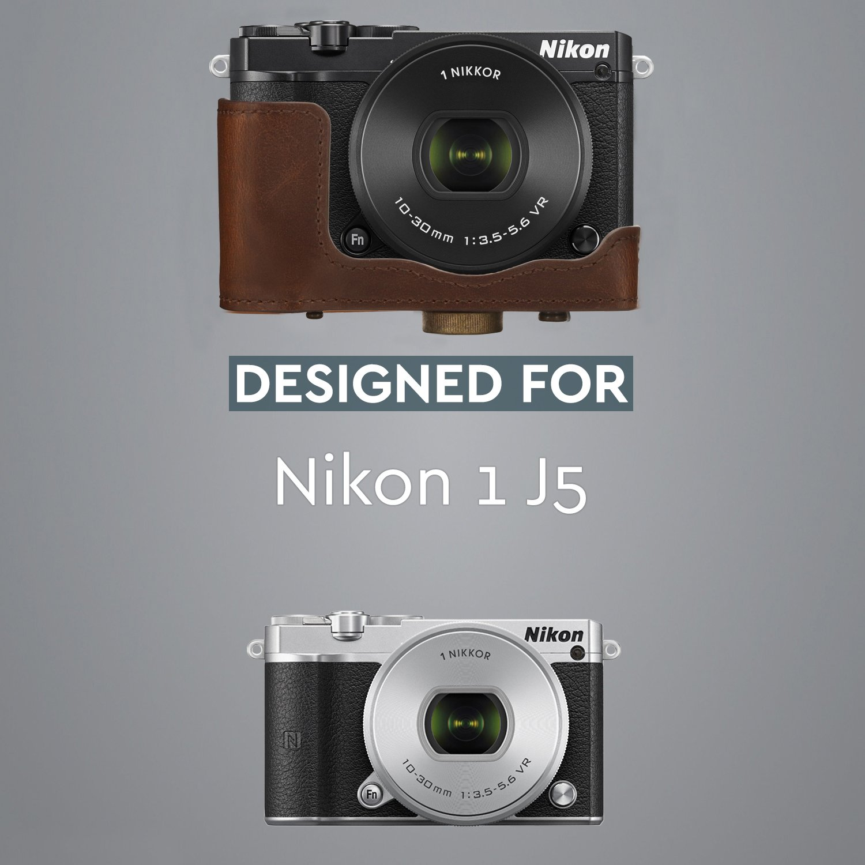 10-30mm MegaGear Ever Ready Custodia in Ecopelle per Fotocamera compatibilie con Nikon 1 J5