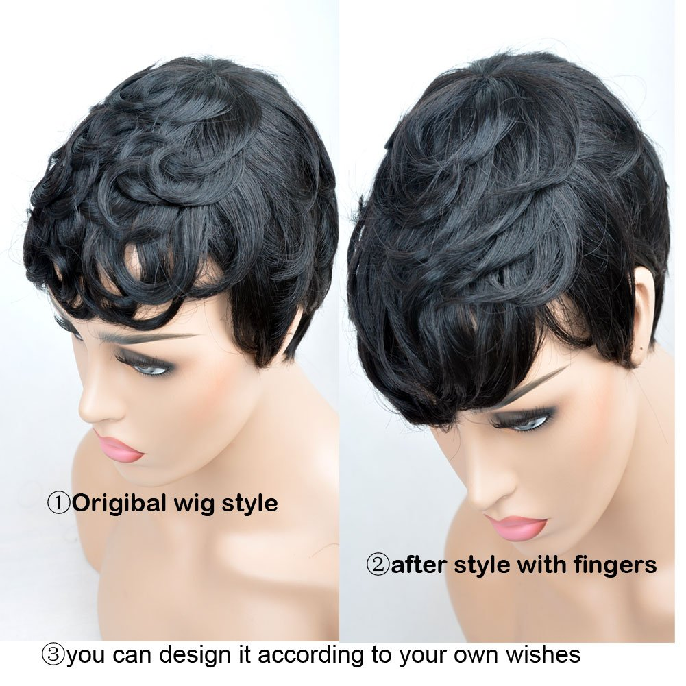 Amazon Com Vck Short Layered Wavy Human Hair Black Cute Natural