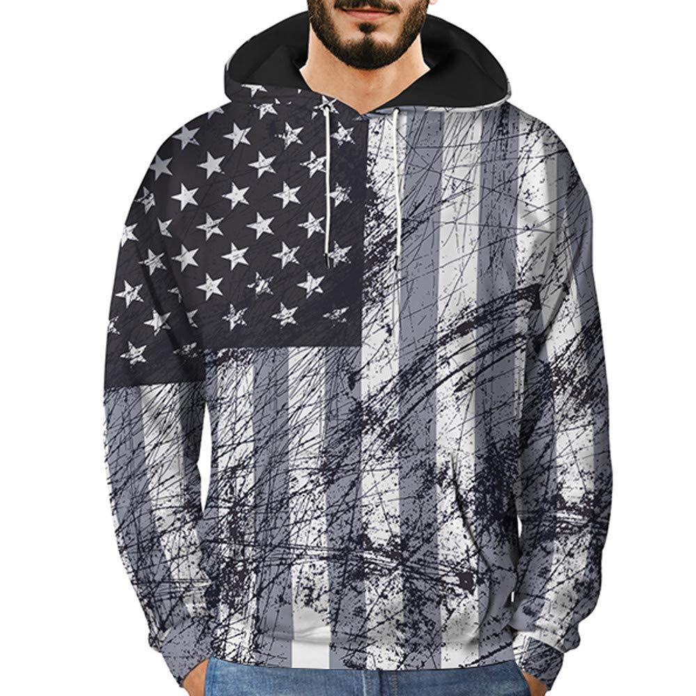 Men's Novelty Sweatshirts, Mens 3D Printed Graffiti Pullover Long Sleeve Hooded Sweatshirt Tops Blouse BOLUOYI